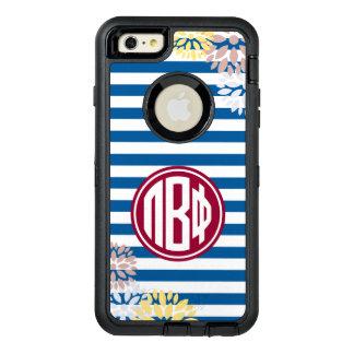 Pi Beta Phi   Monogram Stripe Pattern OtterBox Defender iPhone Case