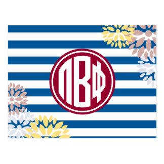 Pi Beta Phi | Monogram Stripe Pattern Postcard