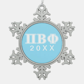 Pi Beta Phi White and Blue Letters Snowflake Pewter Christmas Ornament