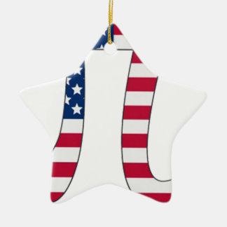 Pi Day American flag, pi symbol Ceramic Ornament