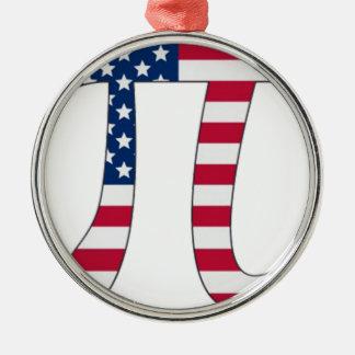 Pi Day American flag, pi symbol Metal Ornament