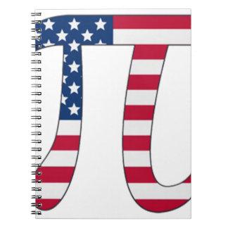 Pi Day American flag, pi symbol Notebooks