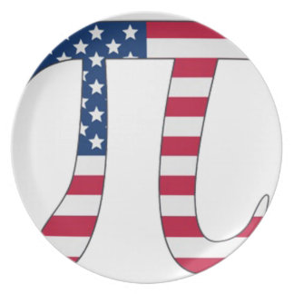 Pi Day American flag, pi symbol Party Plate