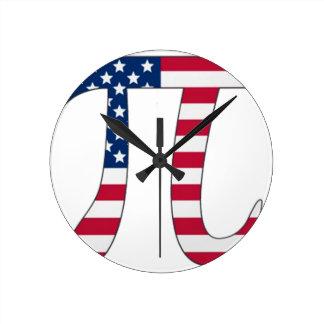 Pi Day American flag, pi symbol Round Clock