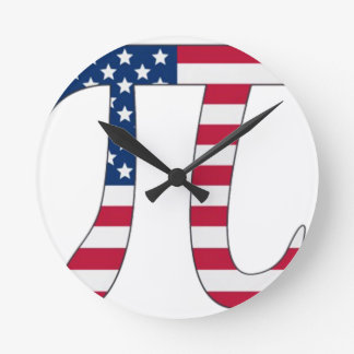 Pi Day American flag, pi symbol Wallclocks