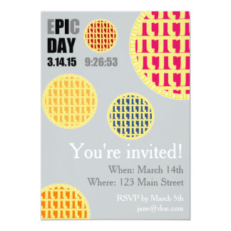 Pi Day Party Invitation Card - E*PI*C DAY 2015