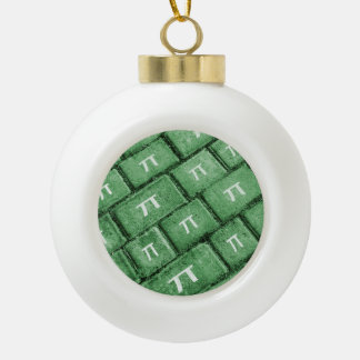 Pi Grunge Style Pattern Ceramic Ball Christmas Ornament