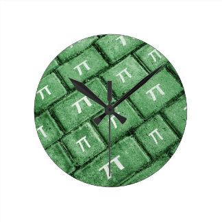 Pi Grunge Style Pattern Round Clock