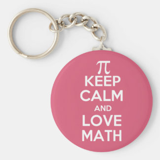 Pi keep calm and love math basic round button key ring