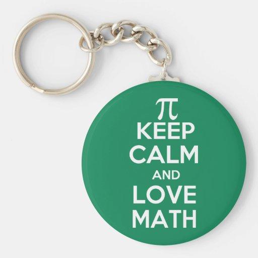 Pi keep calm and love math key chains