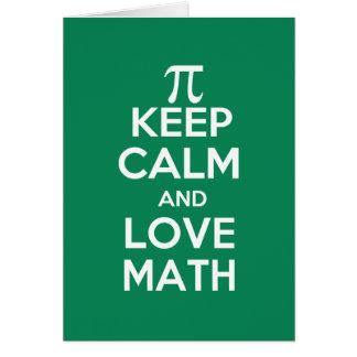 pi keep calm and love math note card