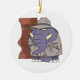 PI private eye spy sneaky elephant Ceramic Ornament