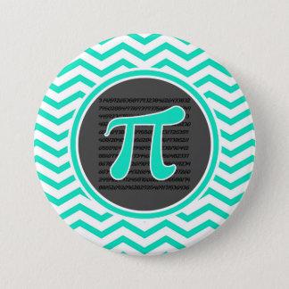 Pi symbol; Aqua Green Chevron 7.5 Cm Round Badge
