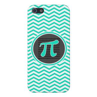 Pi symbol; Aqua Green Chevron Cover For iPhone 5