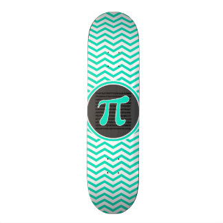 Pi symbol Aqua Green Chevron Skate Boards