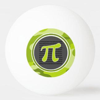Pi symbol; bright green camo, camouflage ping pong ball