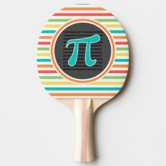 Pi Symbol, Bright Rainbow Stripes Ping Pong Paddle