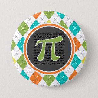 Pi symbol; Colorful Argyle Pattern 7.5 Cm Round Badge