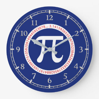 Pi Symbol in Circle on Navy Blue Dial on a Wall Clock