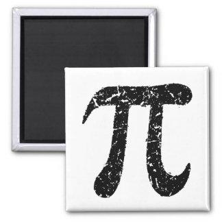 Pi symbol magnet, worn distressed geeky black