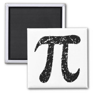 Pi symbol magnet, worn distressed geeky black square magnet