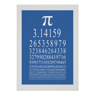 Pi Symbol Many Digit Number Poster