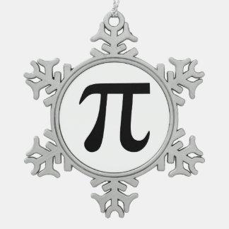 Pi Symbol Pewter Snowflake Decoration