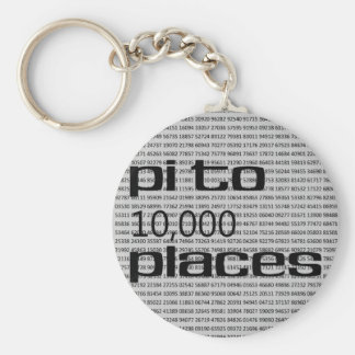 Pi to 10000 places basic round button key ring