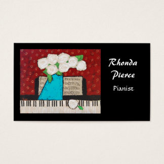 Pianist business card with flowers