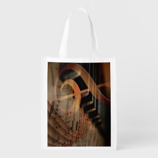 Pianist Gifts, Piano Keys music notes Reusable Grocery Bag