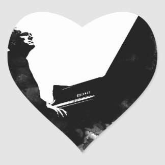 pianist heart sticker