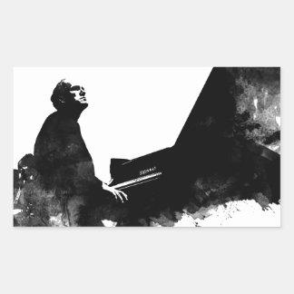 pianist rectangular sticker