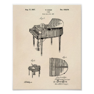 Piano 1937 Patent Art Old Peper Poster