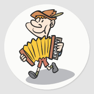 Piano Accordion Player stickers, music instrument Classic Round Sticker