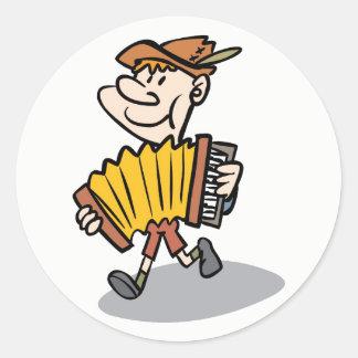 Piano Accordion Player stickers, music instrument Round Sticker