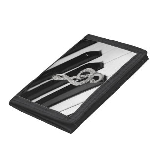 Piano and Gclef design Tri-fold Wallets