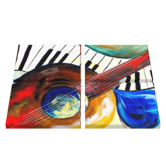 Piano and Guitar Canvas Print