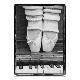 Piano Ballet Duet black and white medium sized Photograph
