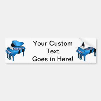 Piano Blue With Face Piano Graphic Design Bumper Sticker