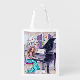 Piano Butterfly Music Girl - shopping grocery bag