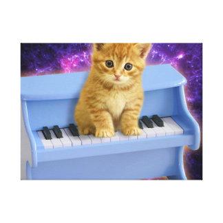 Piano cat canvas print