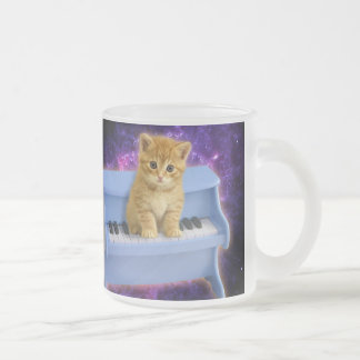 Piano cat frosted glass coffee mug