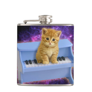 Piano cat hip flask