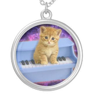 Piano cat silver plated necklace