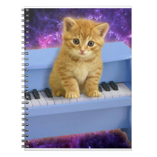 Piano cat spiral notebook