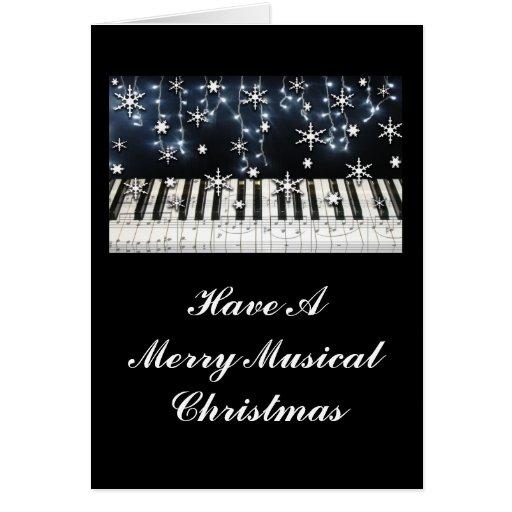 Piano Christmas Snowflake Keyboard Card