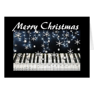 Piano Christmas Snowflake Keyboard Greeting Card