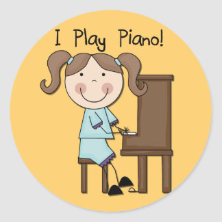 Piano - Female Tshirts and Gifts Round Sticker