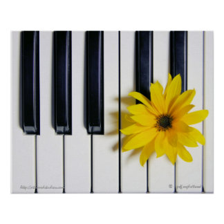 Piano Flower Poster