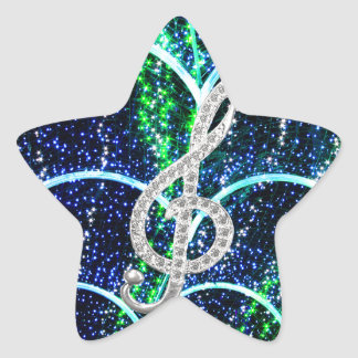Piano Gclef Symbol Star Sticker